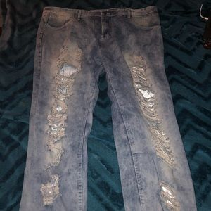 "Size 48 slim fit ""tru"" demon blue ripped jeans"